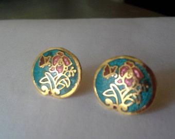 Vintage butterfly and flower enamel earrings