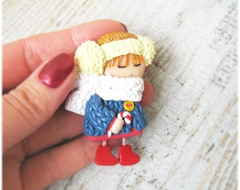 Pin Winter Art Doll Brooch Cute Christmas Gift Personalized Brooch Little girl with lollipop