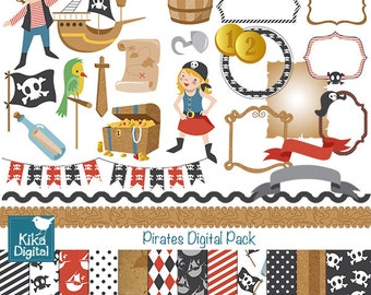 Pirates Digital Clipart and Paper Pack - Scrapbooking , card design, invitations, stickers, paper crafts, web design - INSTANT DOWNLOAD
