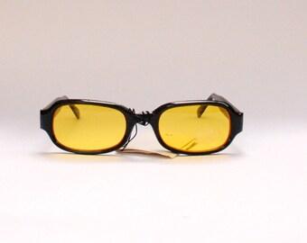 90s/2000s Vintage Yellow Lens Sunglasses - Black Frames - Seapunk/Grunge/Acid House/Rave Culture