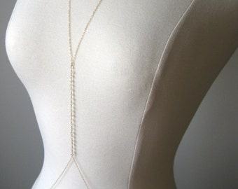 Moonstone BodyChain, layering body chains, harness body chain, handmade bodychain, gold filled body chain, gold body harness summer jewelry