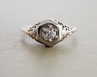Antique Diamond Ring - 18k White Gold Filigree Ring with Diamond