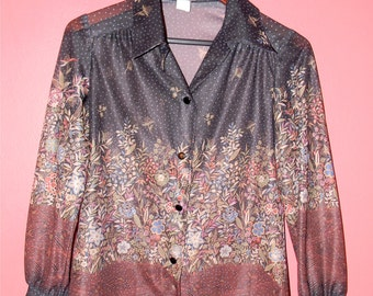 XS S M Extra Small Medium Vintage 70s Sheer Black Floral Shirt Boho Festival Hippie Romantic Long Sleeve Blouse Shirt