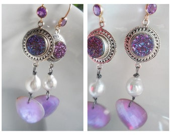 Titanium Druzy - Amethyst - South Sea Pearl - Earrings, Wire Wrapped Sterling Silver Gemstone Earrings Jewelry, Doublet Briolette Earrings