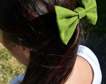Olive Green Linen Hair Bow - Monster