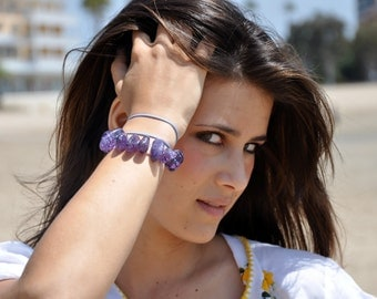 Amethyst Nugget and Turquoise Wrap Bracelet