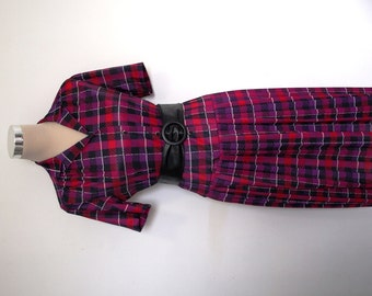 Vintage Dress - Shirt Dress With Pleated Skirt - Red And Purple Check Dress - Preppy Back To School