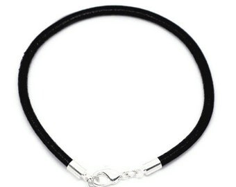 """Sterling Silver and Black Leather Bracelet for Large Hole European Style Beads, Charms, 17.2cm, 6.75"""", Lampwork Bracelets, European Charms"""