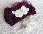 Couture Purple Ivory Lace Ruffle Bloomer with matching ivory flower headband. newborn to 9m