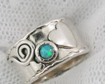 Opal band. Sterling silver opal ring. Heart swirl ring. Opal ring. birthday gift for sister bff wife girlfriend, opal jewelry  (sr-9566-513)