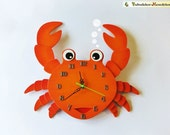 Wooden Crab Wall clock for kids, zodiac Cancer handmaded Nursery Decoration