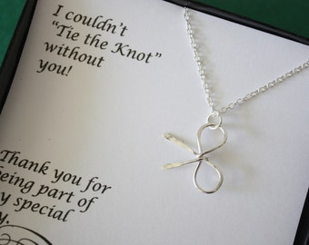Four Bow Bridesmaids Necklaces, Tie the Knot, Bridesmaid Gifts, Sterling Silver Bow, Silver Knot Necklace, Thank You Card