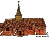 """Drawing Print Norway - Norwegian Stave Church, Kvernes, illustration red white wall art home decor - Size A4/ 8,27"""" x 11,7"""" UNFRAMED"""