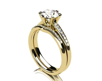 engagement ring set, white sapphire engagement, Diamond band, wedding ring set, Yellow gold, sapphire, pave, solitaire, diamond engagement