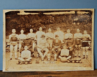 Antique photograph of English army military boxers and their promoters Royal Fusiliers boxing company Military sports men
