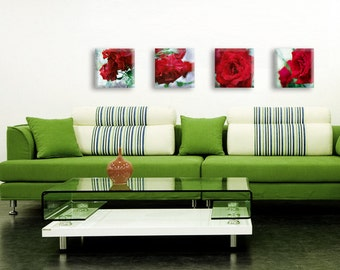 Set of 4 red roses printed on canvas - 4 red floral art prints - wedding gift idea