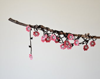 Sakura Necklace, Oya Beaded Necklace, Cherry Blossoms, Boho Wrap Necklace, Crocheted Necklace, Lariat Necklace, Beadwork, Women's Gift