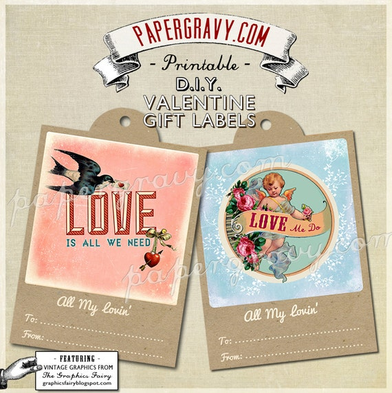 INSTANT DOWNLOAD Beatles Printable Gift Tag Labels