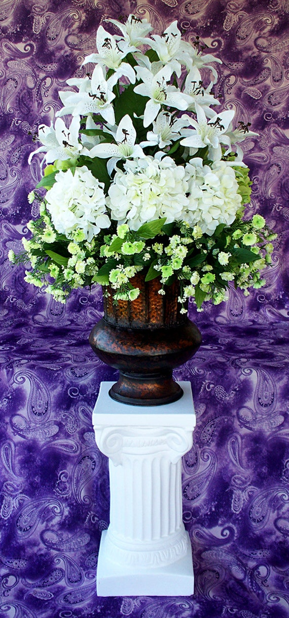 Wedding Centerpieces White Silk Flowers Altar By Artsandcreations