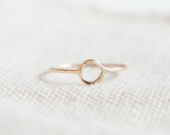 Hammered Eternity halo ring- 14k Gold Filled stack skinny ring- made to order- modern minimalist jewelry for everyday