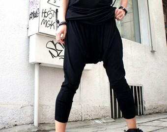 Loose Casual Black Drop Crotch Harem Pants / Casual Black Pants A05063