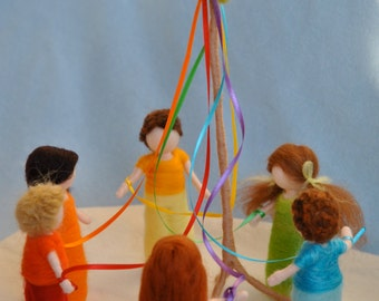 Spring Celebration Waldorf inspired needle felted dolls : The Maypole