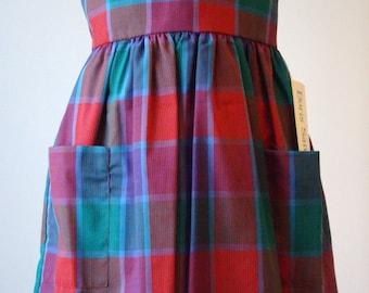 Girls Jumper/Dress - Red/Burgundy/Purple/Green/Blue Plaid- Size 6X/7