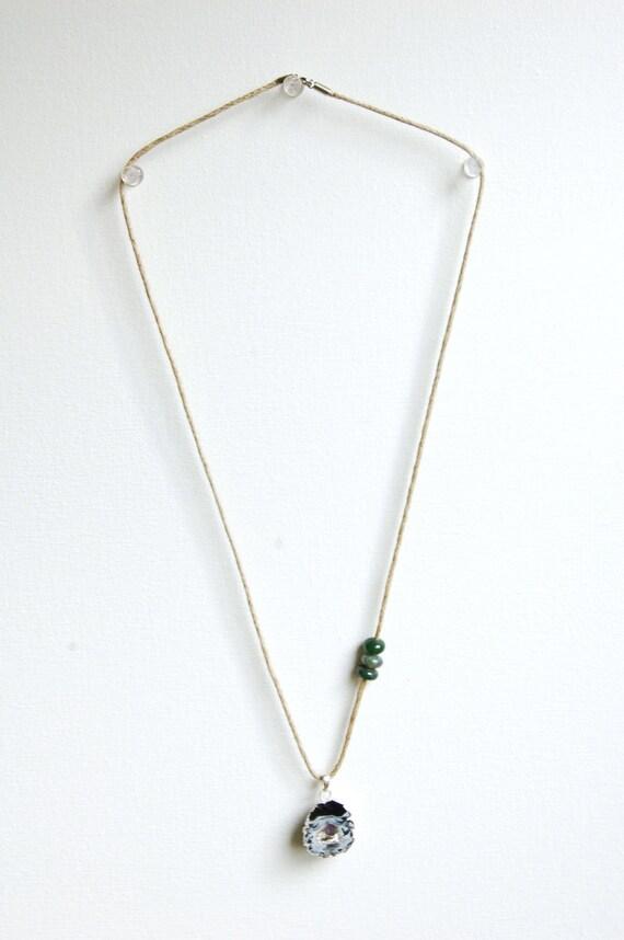 Simple Minimal Long Pendant Necklace - Agate Slab Amethyst Gemstones - Hemp Jewelry - Modern Earthy Druzy Necklace - Folk Western Raw Rustic