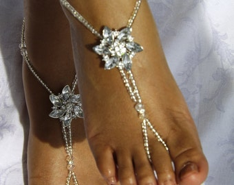 Rhinestone Wedding Foot Jewelry Barefoot Sandal Foot Thong Beach Wedding Sandles Beach Wedding Shoes-- ONE PAIR