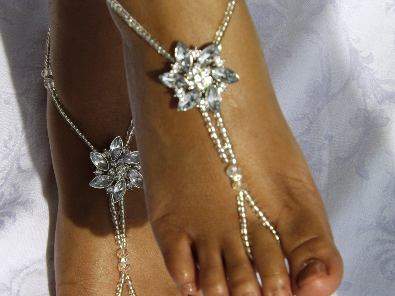 Rhinestone Wedding Foot Jewelry Barefoot Sandal Foot Thong