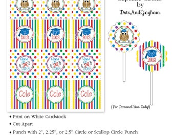 Graduation Owl Primary Colors Printable Cupcake Circles-Graduation Owl Cupcake Toppers-Graduation Cupcake Topper-Kindergarten Graduation