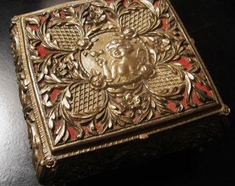 Elegant Vintage Cherub Angel Gold Tone Footed Trinket or Jewelry Casket Box