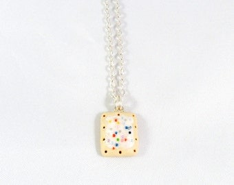 Poptart Charm Necklace, Silver Plated Necklace, Cute, Kitsch, Kawaii :D
