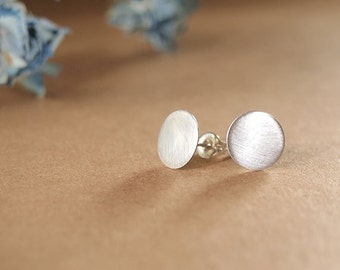 Small simple recycled sterling silver 9mm stud earrings with a brushed finish - Spot Earrings