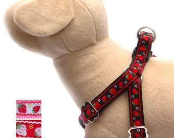 Strawberry dog harness dog leash Cute red step in harness Small dog harness Large dog harness Designer ribbon pet harness Girl dog harness