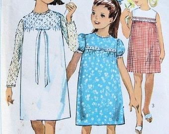 Childrens Sweet Dress Pattern Simplicity 6379 Girls Empire Dress 3 Styles Breast 26 Vintage Sewing Pattern UNCUT