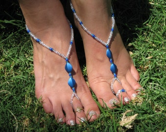 Crystal and Blue Barefoot Sandals and Toe Ring, Foot Thong, Slave Anklet, Ankle Bracelet