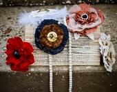 Fabric Flower Pins - Bridesmaid's gifts, Hair pins, Baby headband accessory, Fabric flowers, Flower Brooch, Hair piece
