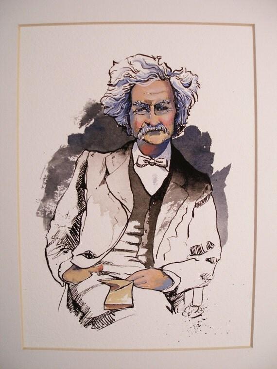Original Watercolor Painting Mark Twain Portrait Small