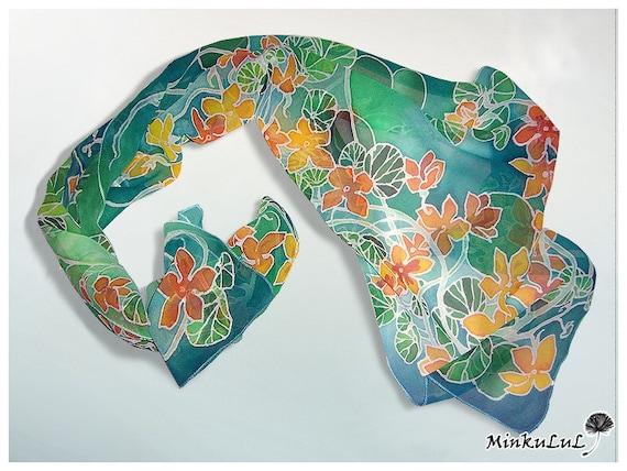 silk scarf nasturtium silk scarves painted by