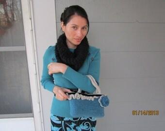 small teal handbag felted blue rose aqua purse Tealicious