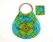 SALE geometric print fabric handbag with pouch / blue green textile tote bag