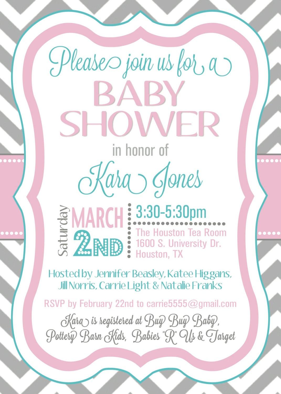 custom chevron baby shower invitation digital by splendidandspark