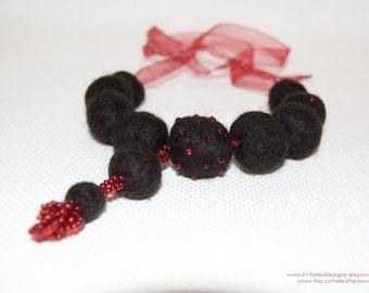 Gothic jewelry, Felt balls necklace, Fiber art jewlery, Victorian wedding, Vampire blood, Noir necklace, Cosplay Jewelry, Wiccan necklace