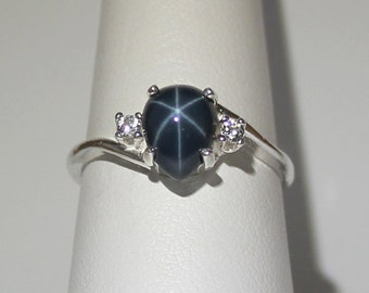 Genuine 2.3ct Blue Star Sapphire Ring with White Sapphires / Sterling Silver Blue Star Sapphire Ring September Birthstone