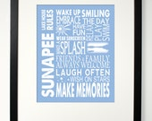"""LAKE HOUSE RULES- summer camp rules- customizable, personalized print - 8"""" x 10"""" or 11"""" x 14"""""""