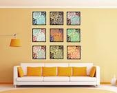 Dahlia Flowers Print Set of nine