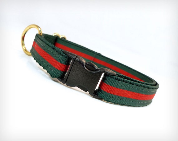 Red And Green Gucci Dog Collar