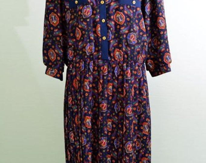 1970s Breli vintage secretary dress navy blue paisley pattern
