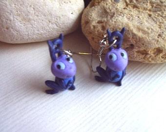 Lilac cricket earrings, miniature Cry Cry earrings, Lavender cricket earrings